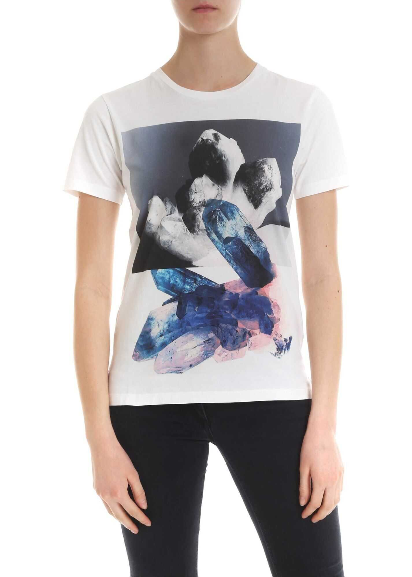T-Shirt In White With Contrasting Print