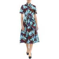 Rochii Brown Cotton Dress With Floral Pattern Femei