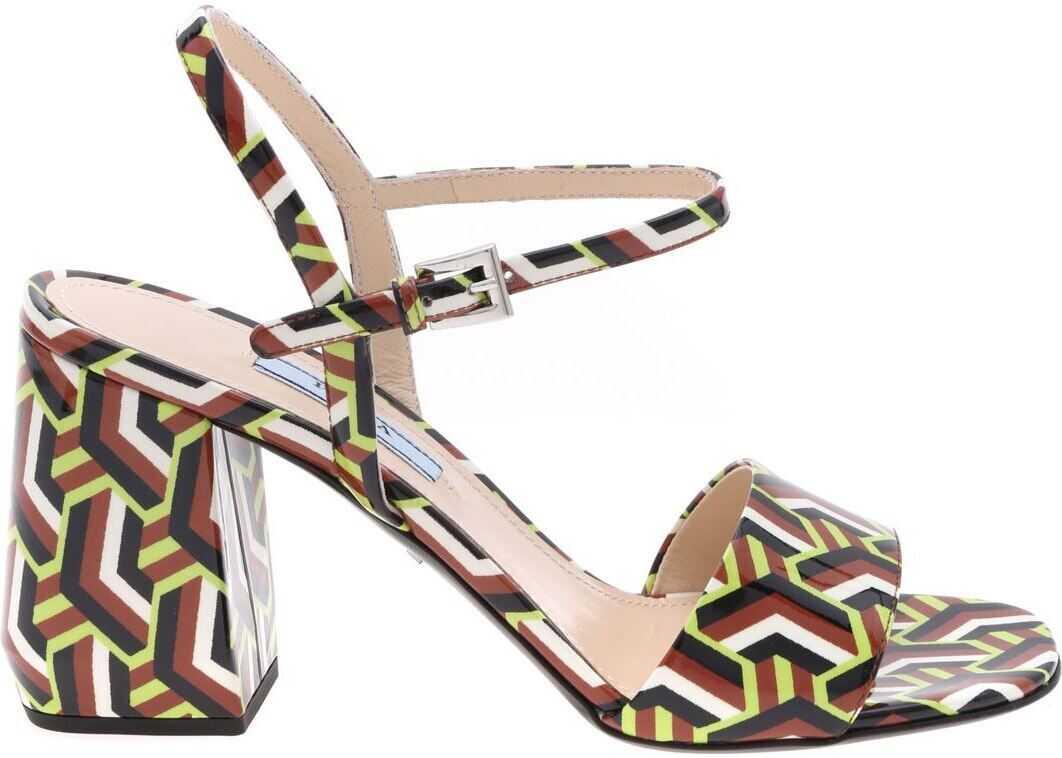 Prada Leather Sandals With Twist Motif Brown