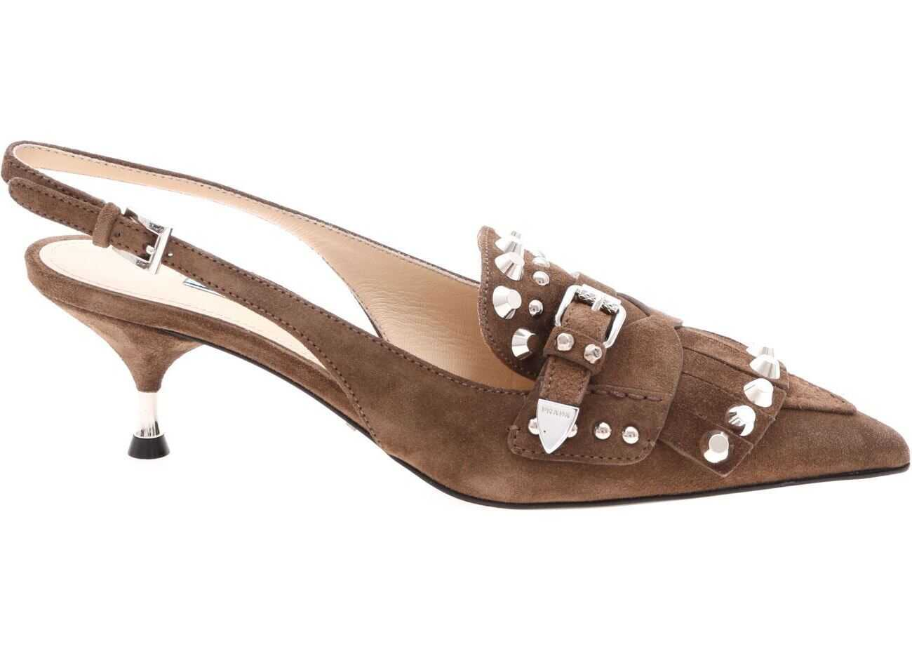 Prada Slingback In Brown Suede Leather Brown