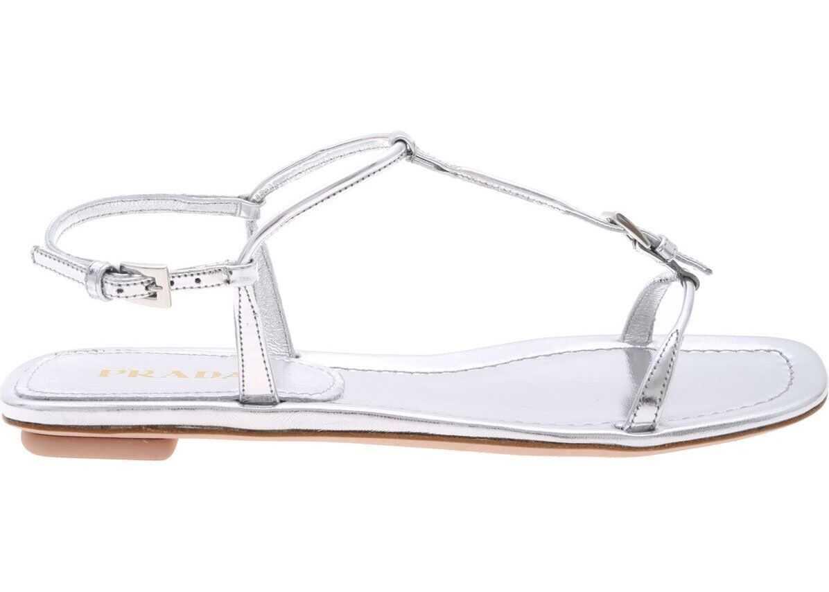 Prada Metallic Silver Sandals Silver