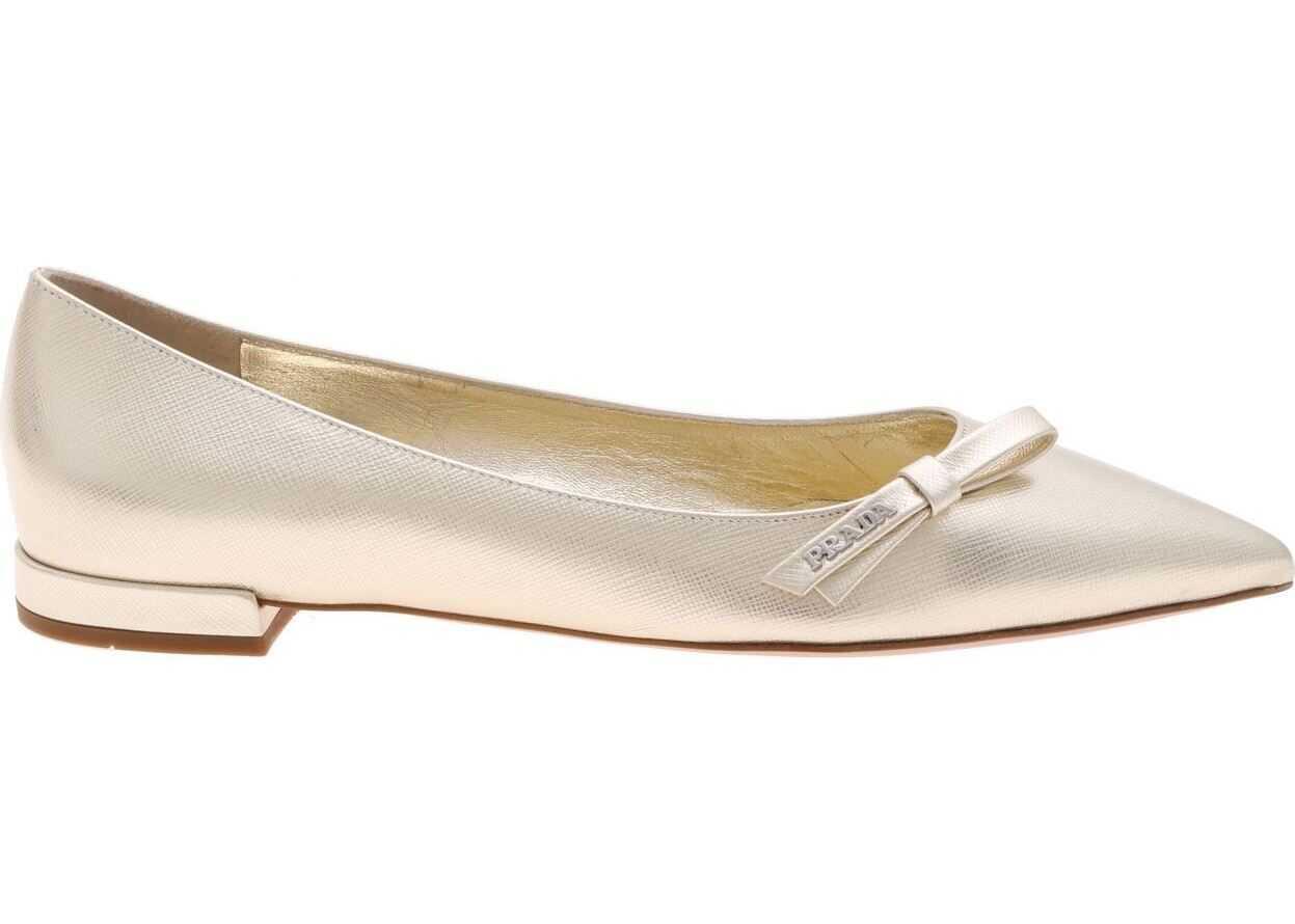 Prada Flats In Golden Saffiano Leather Gold