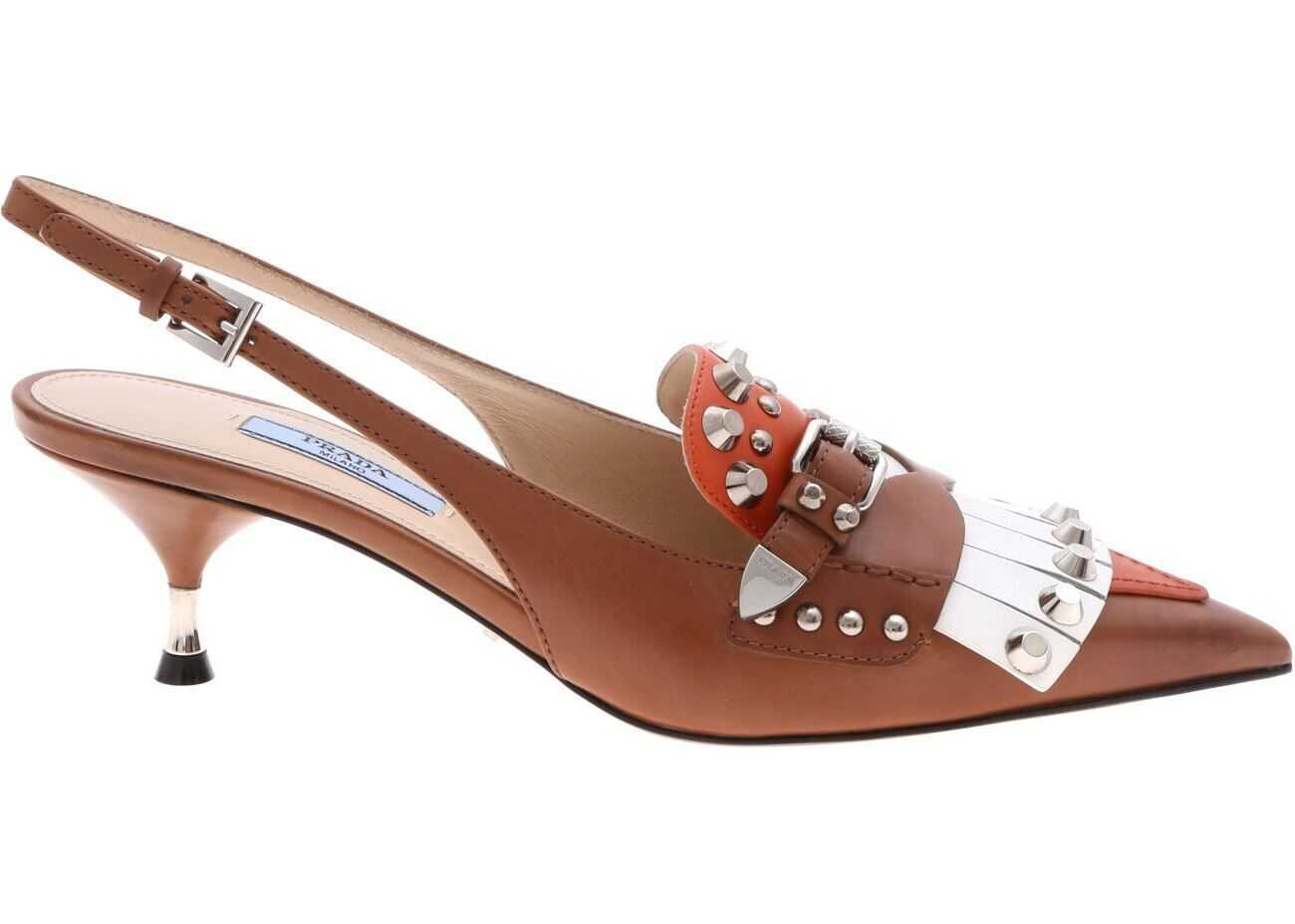 Prada Slingback In Brown And Orange Leather With Studs Brown