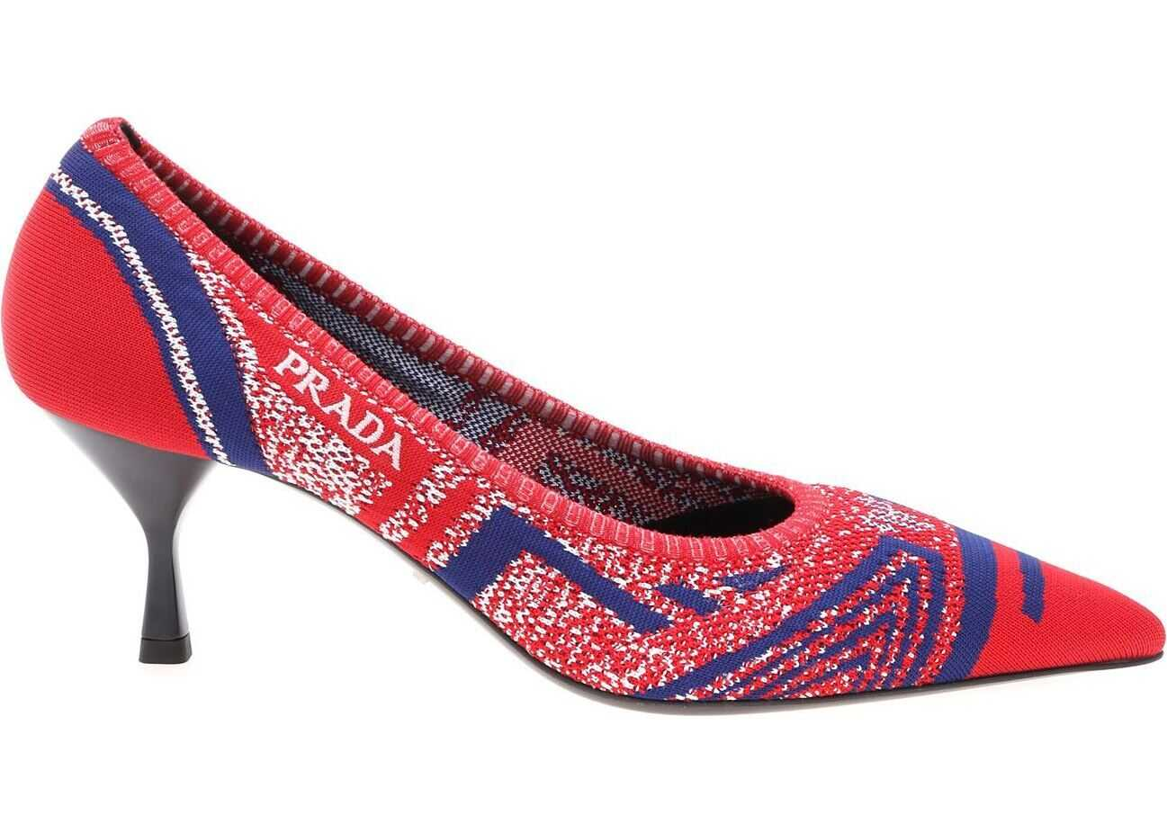 Prada Knite 3 Red Pointy Pumps With Embroidered Logo Red