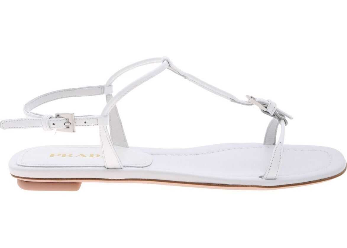 Prada Sandals In Genuine White Leather White