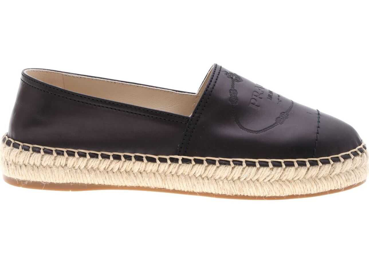 Prada Black Leather Espadrilles Black