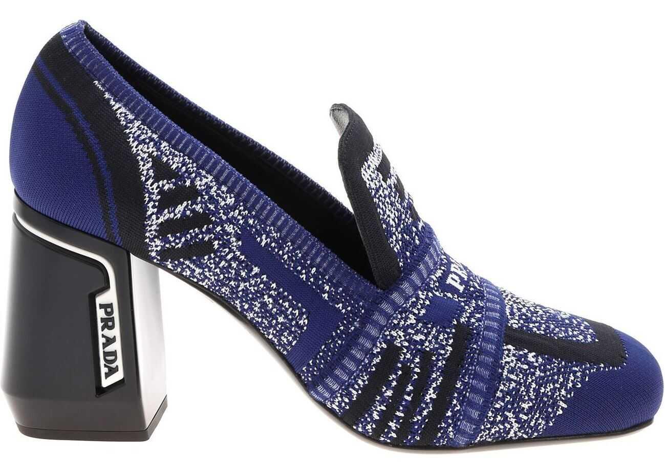 Prada Décolleté In Blue Knit Fabric Blue