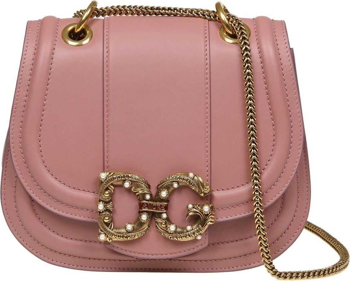 Dolce & Gabbana Dg Pink Leather Bag With Rhinestones Pink