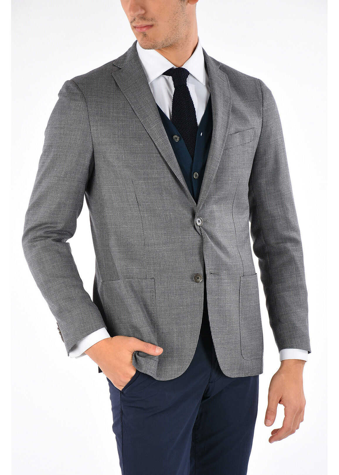 CORNELIANI CC COLLECTION Wool and Silk RIGHT Blazer GRAY