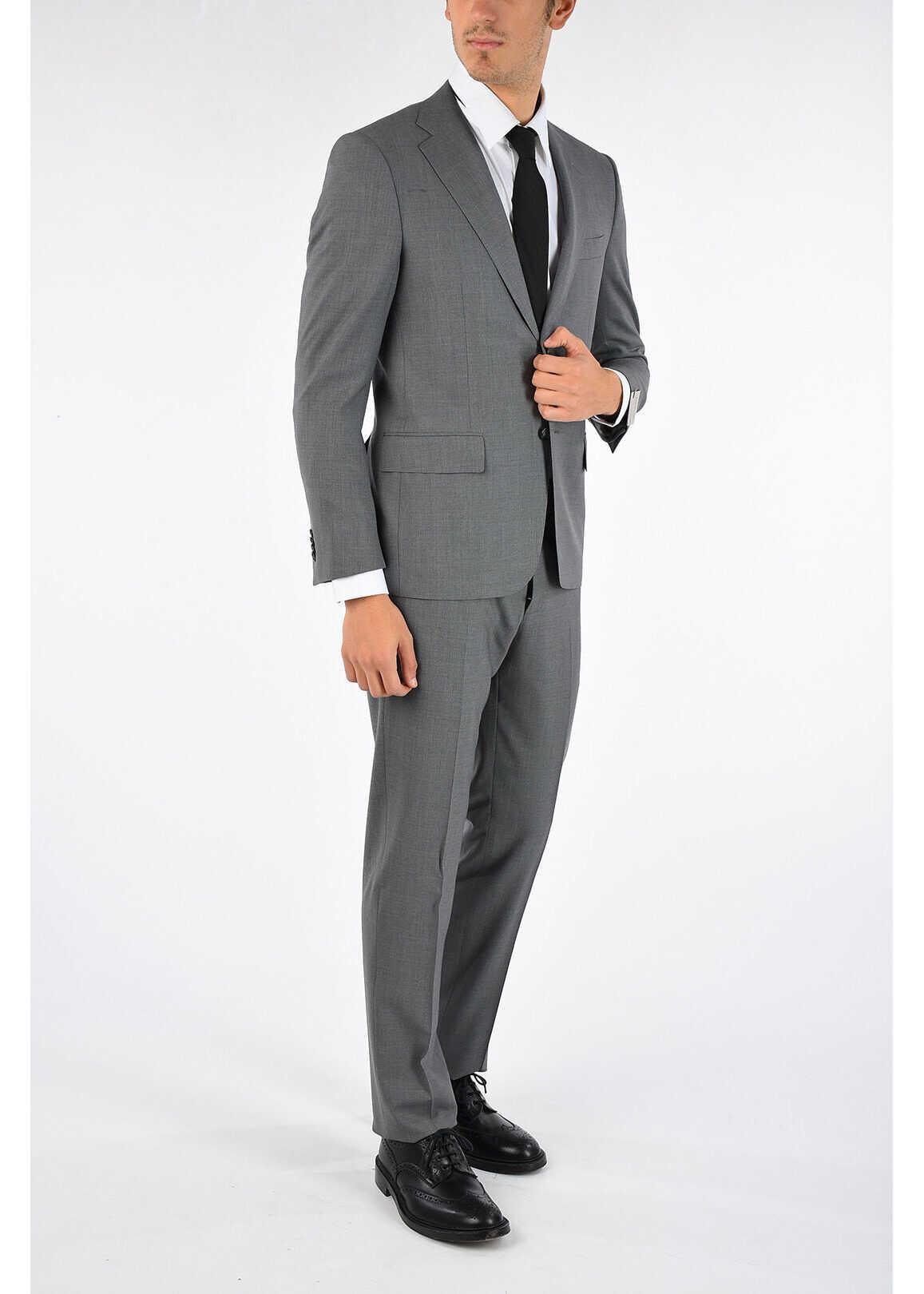 CORNELIANI Virgin Wool MANTUA 2 Button Suit GRAY imagine