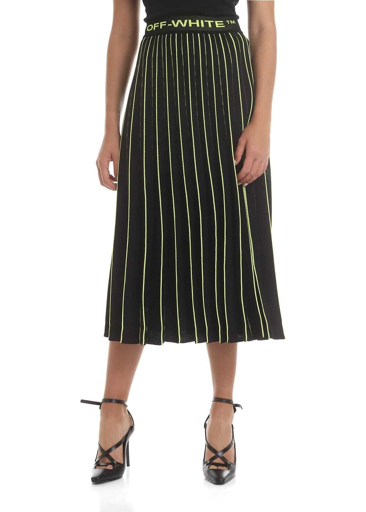 Off-White Pleated Midi Skirt In Black And Neon Green Black