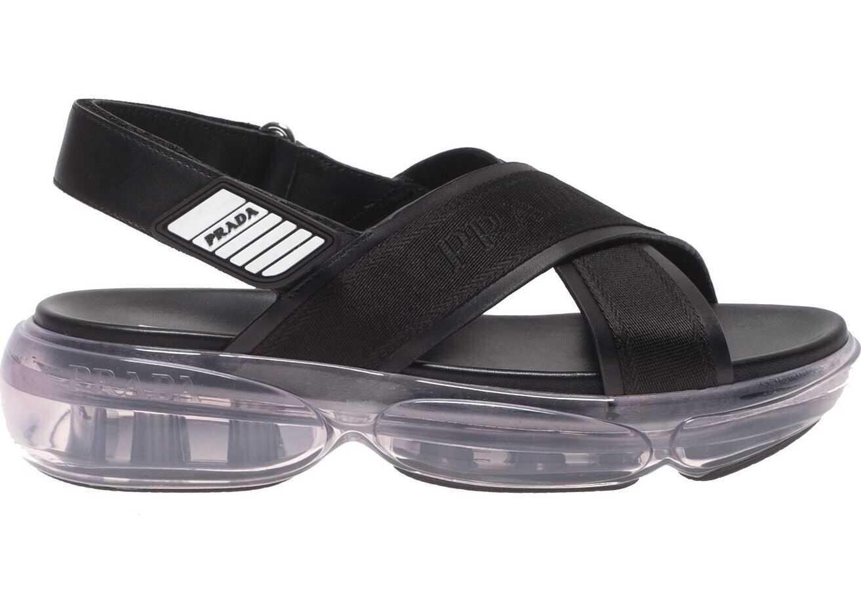 Prada Cloudbust Sandals In Black With Transparent Sole Black