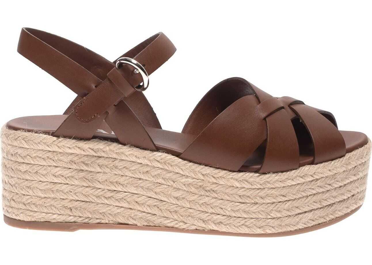 Prada Brown Sandals With Rope Wedge Brown