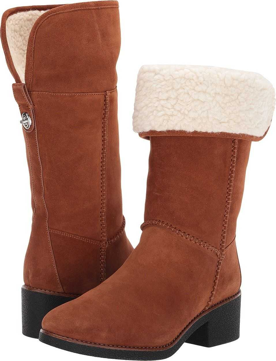 COACH Turnlock Faux Shearling Boot Saddle