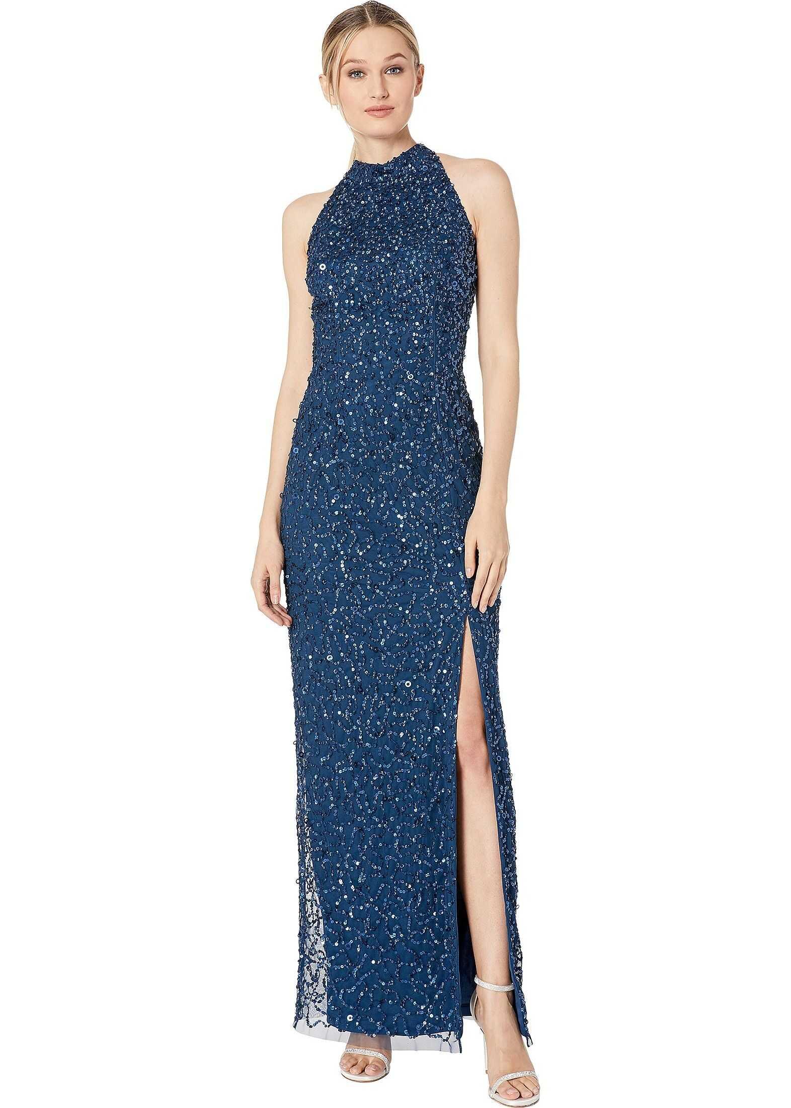 Adrianna Papell Beaded Column Halter Evening Gown Deep Blue