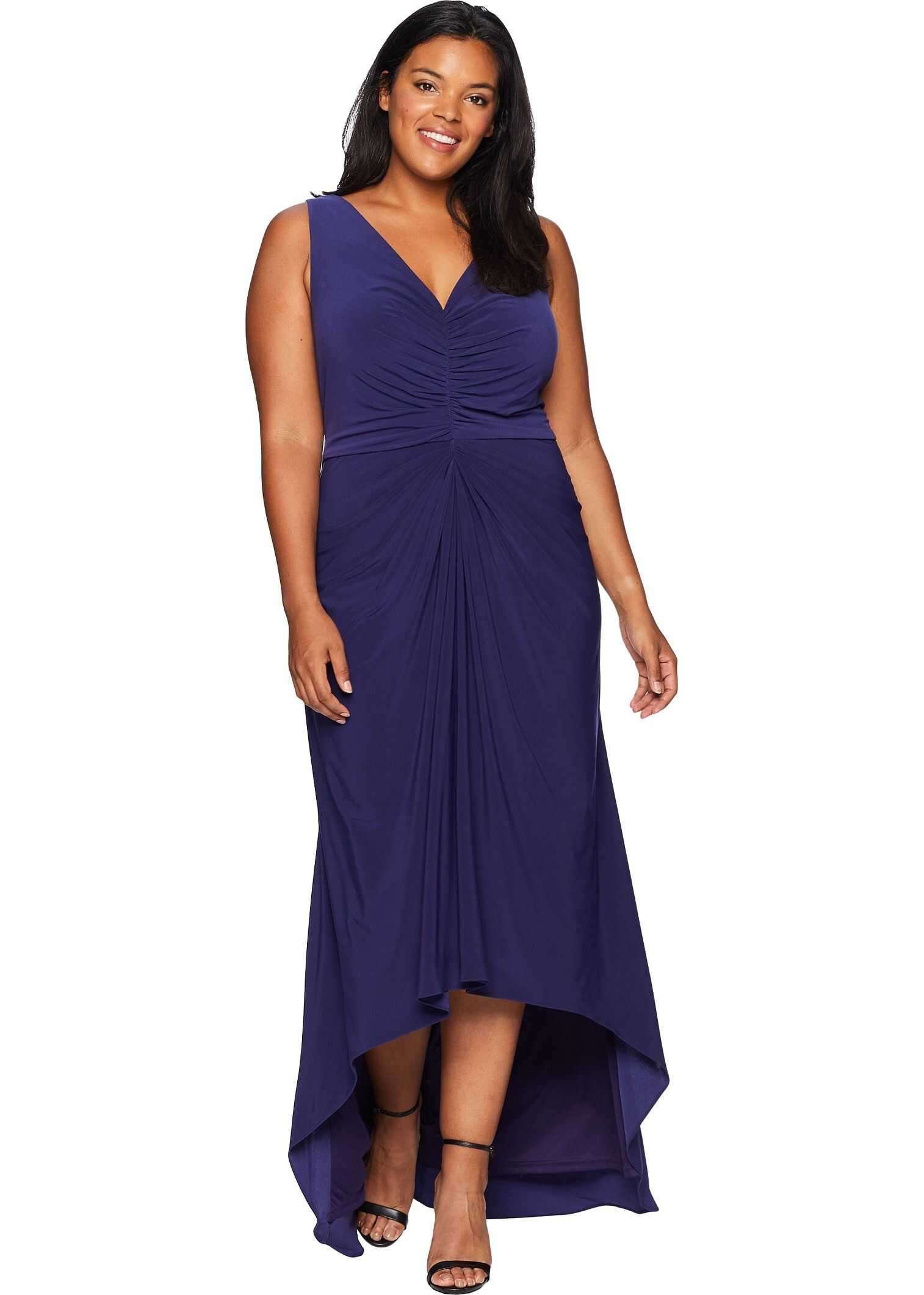 Adrianna Papell Plus Size High-Low Draped Front Jersey Gown* Admiral Blue