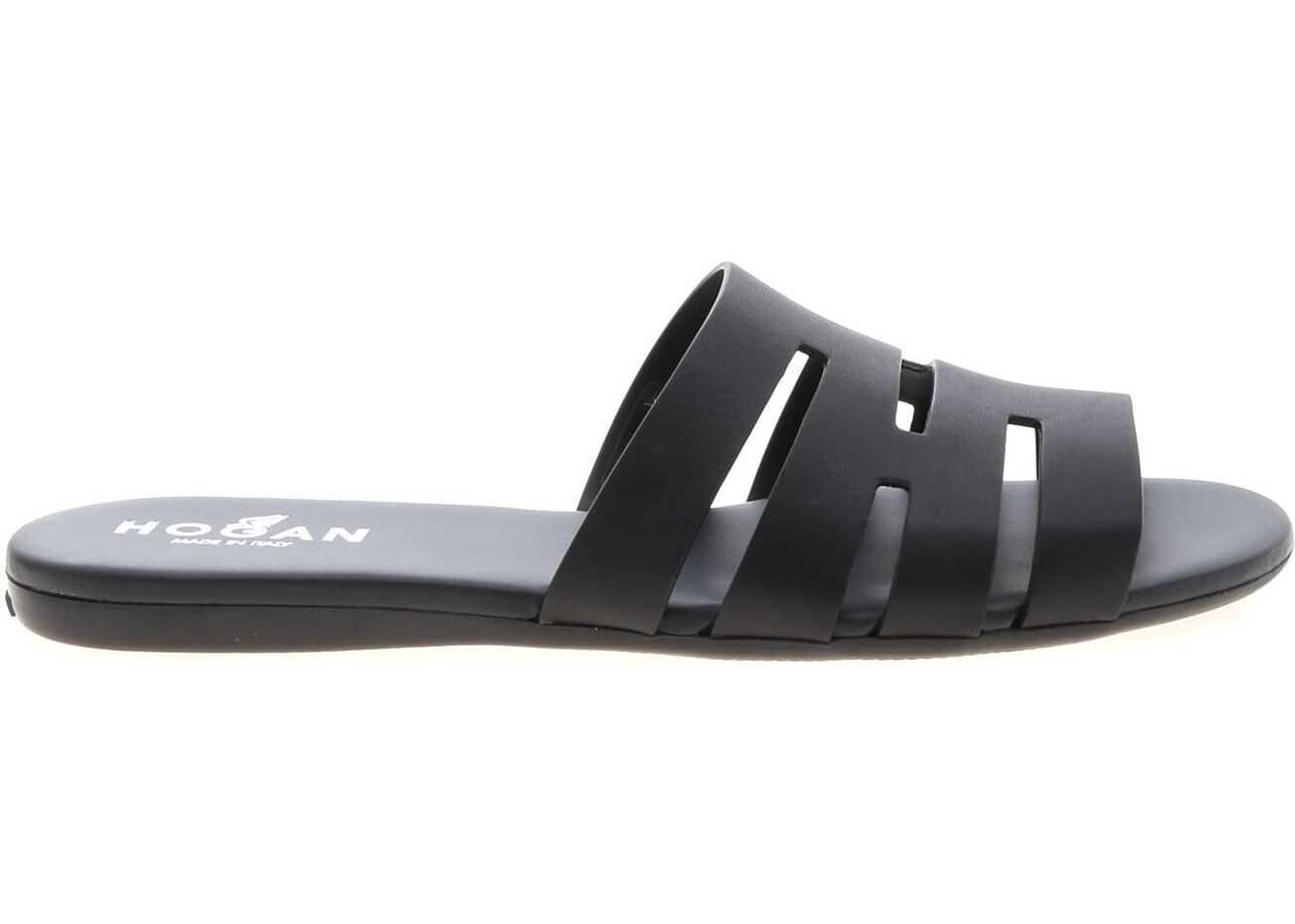 Hogan Slippers In Genuine Black Leather Black