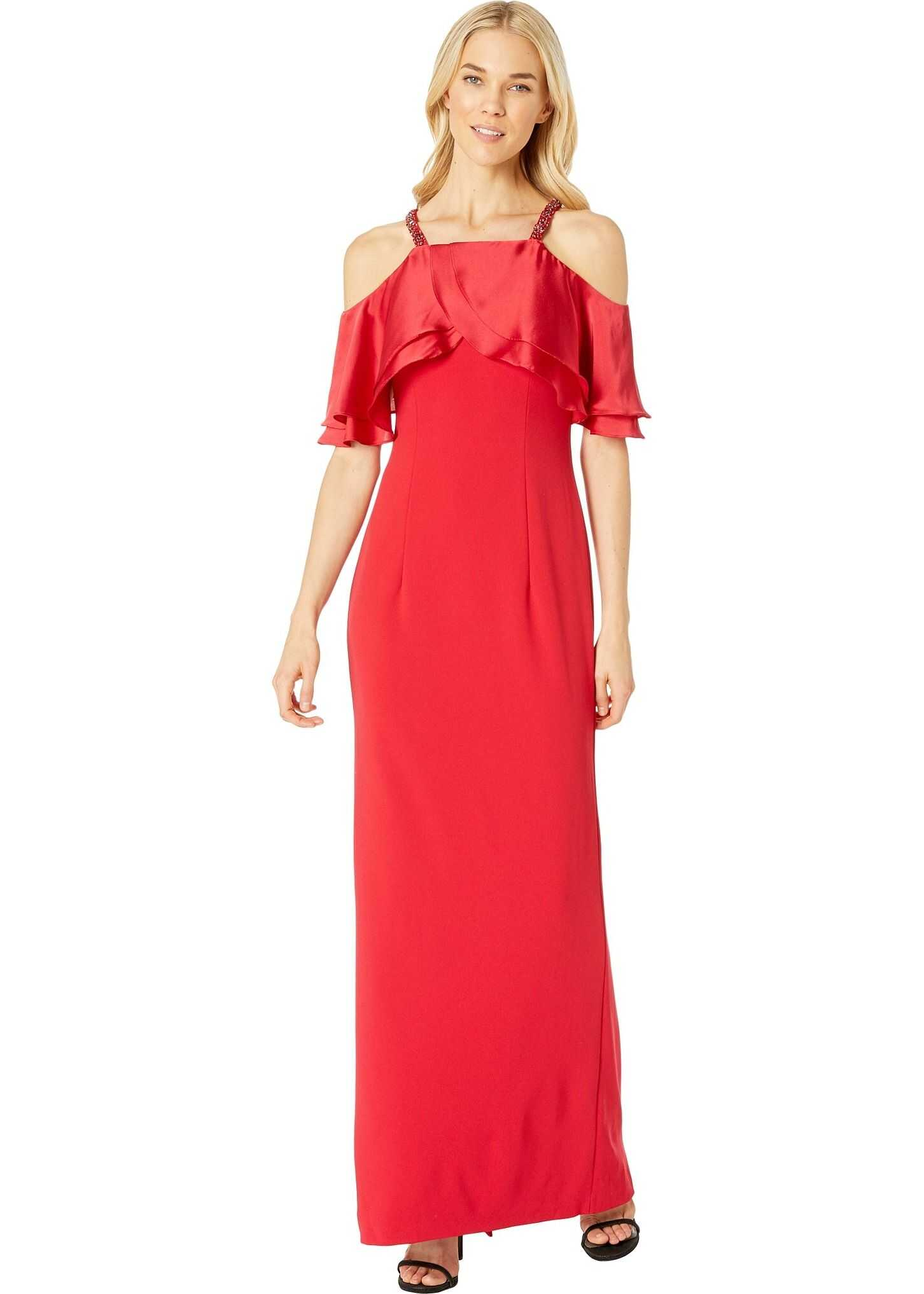 Adrianna Papell Long Crepe Dress Beaded Straps Red