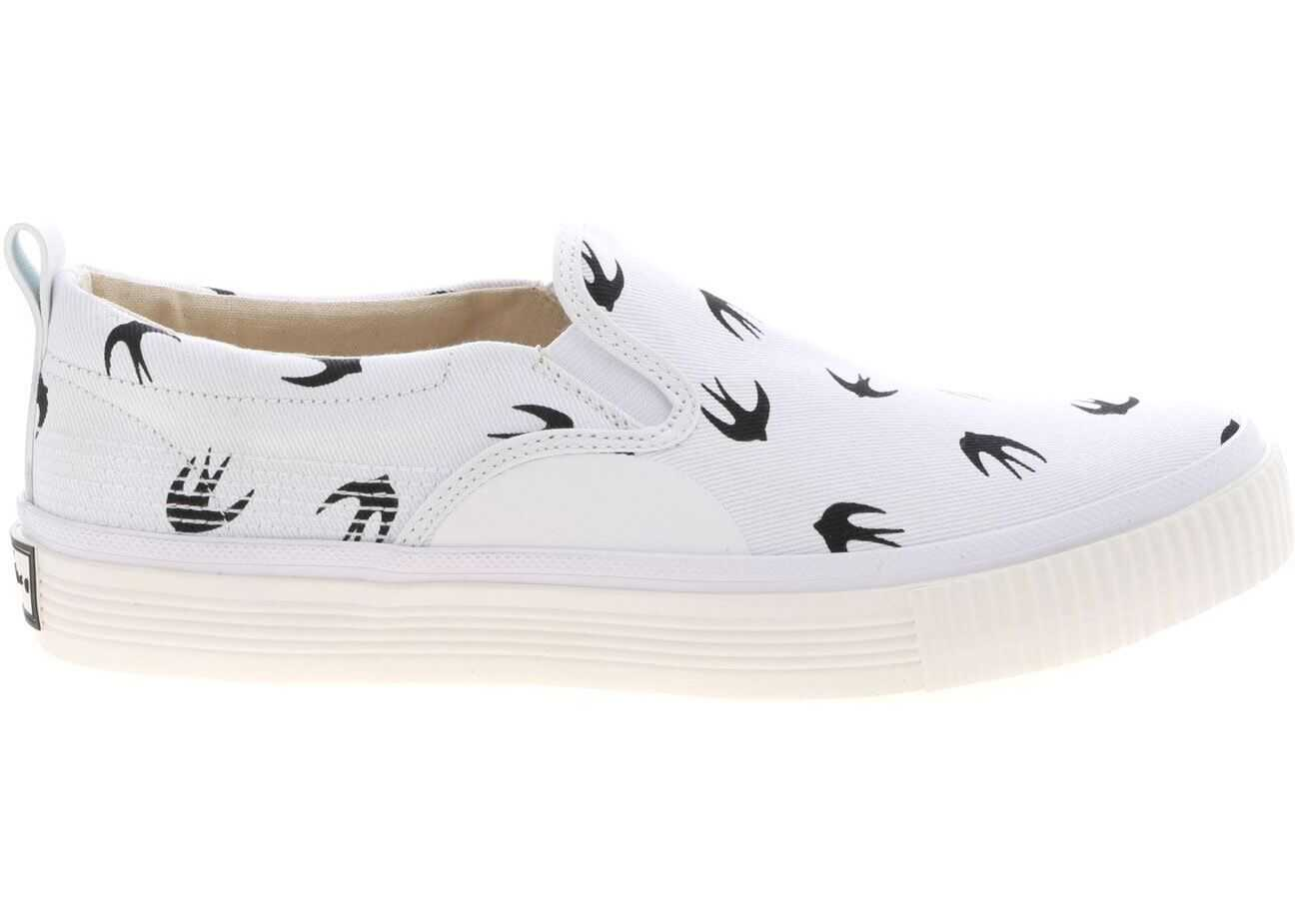 MCQ Alexander McQueen Slip-On In White With Swallow Print 494592 R2558 9024 White imagine b-mall.ro