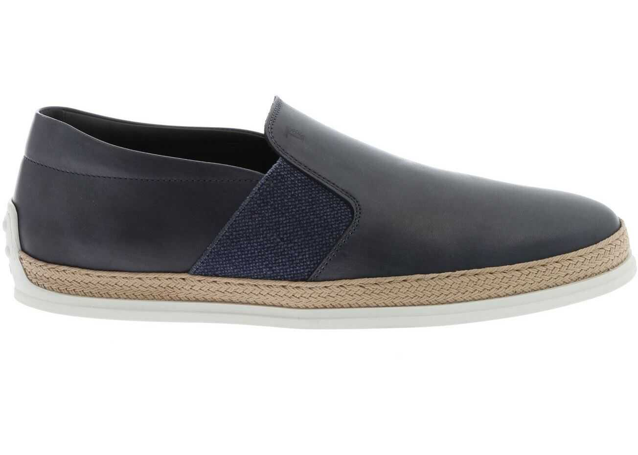 TOD'S Slip-On In Blue With Rope Effect Insert XXM0TV0V530D9CU817 Blue imagine b-mall.ro
