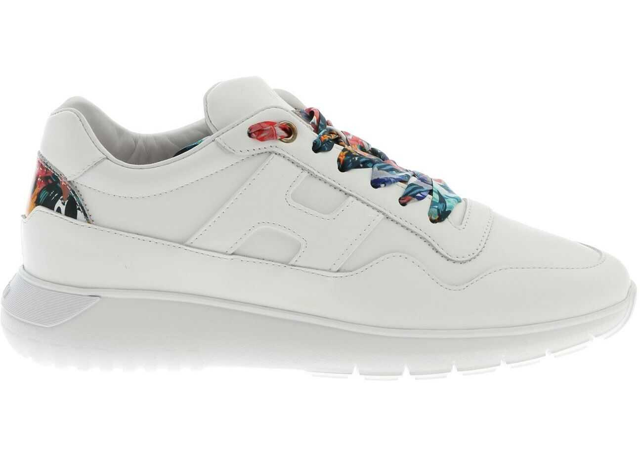 Hogan H371 Sneakers In White With Floral Details White