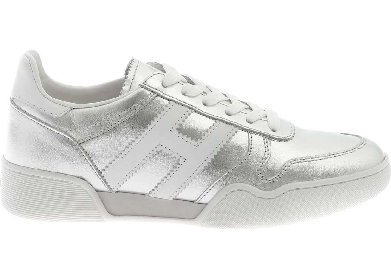 Hogan H357 Retro Volley Sneakers In Silver Colored Silver