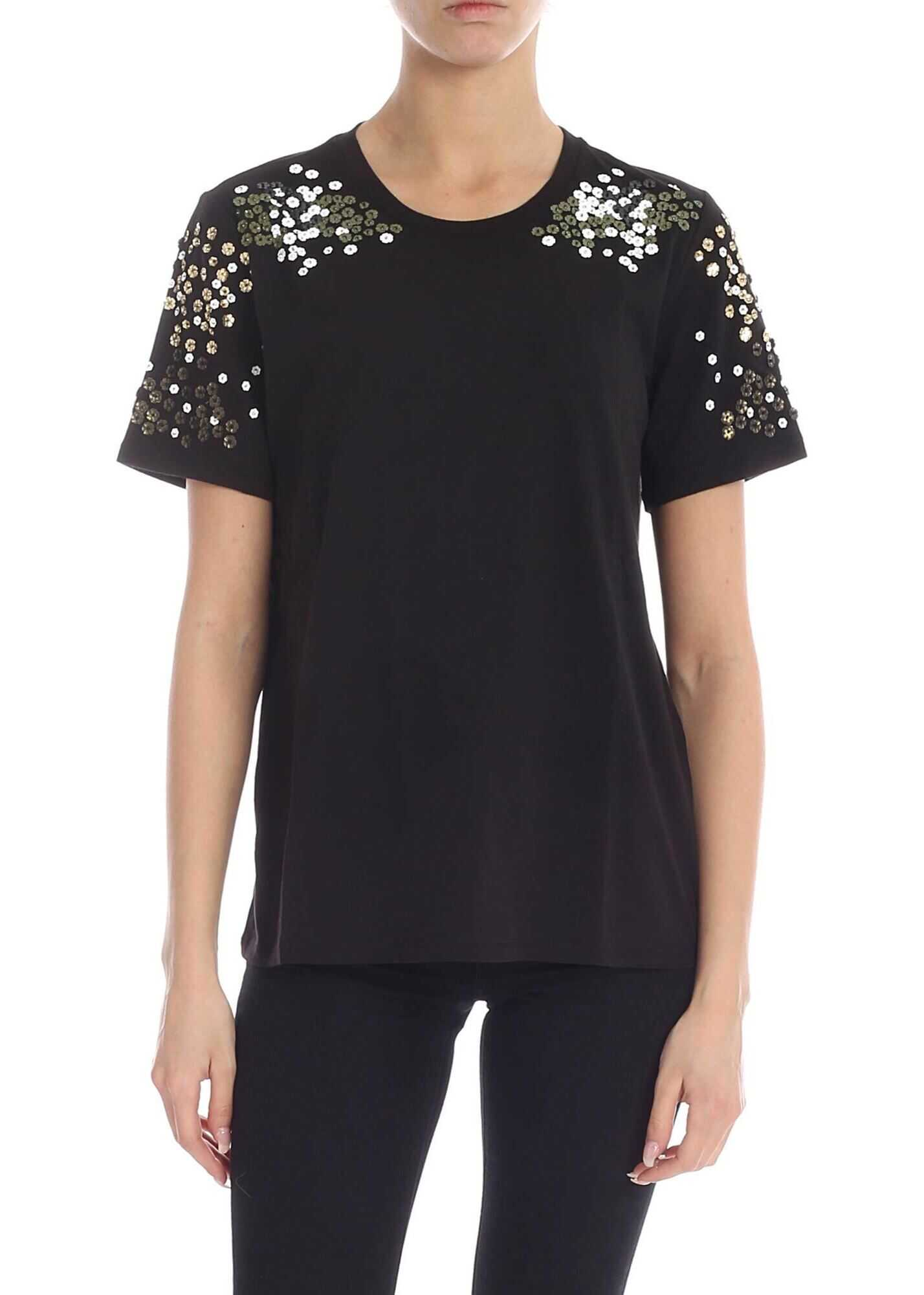 Black T-Shirt With Floral Decorations