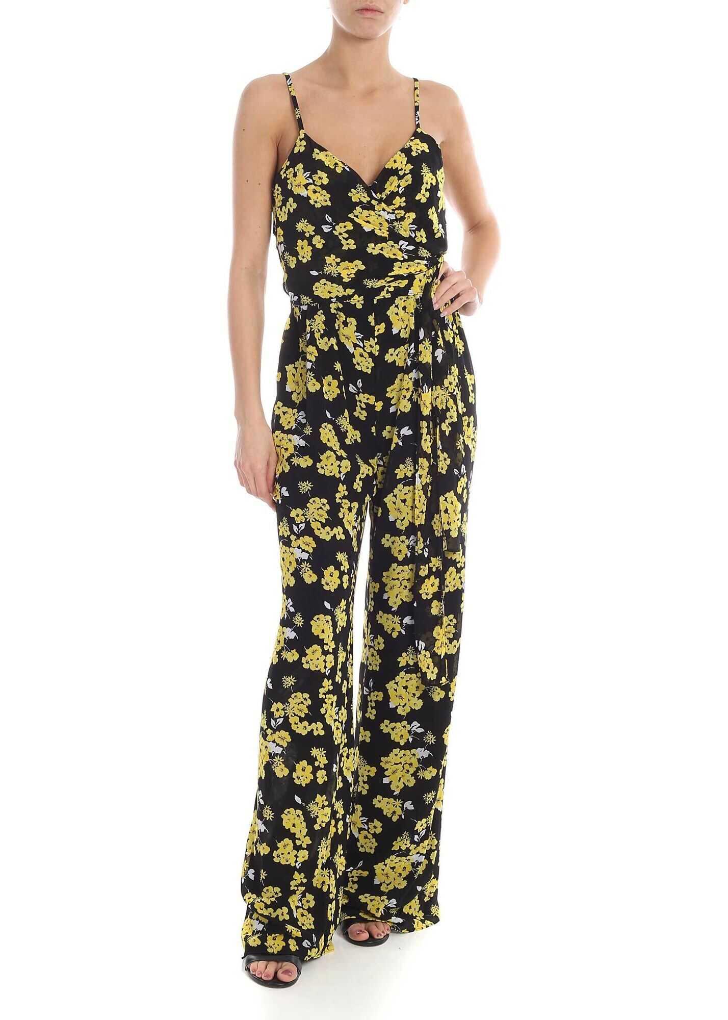 Michael Kors Black Jumpsuit With Flower Print Multi