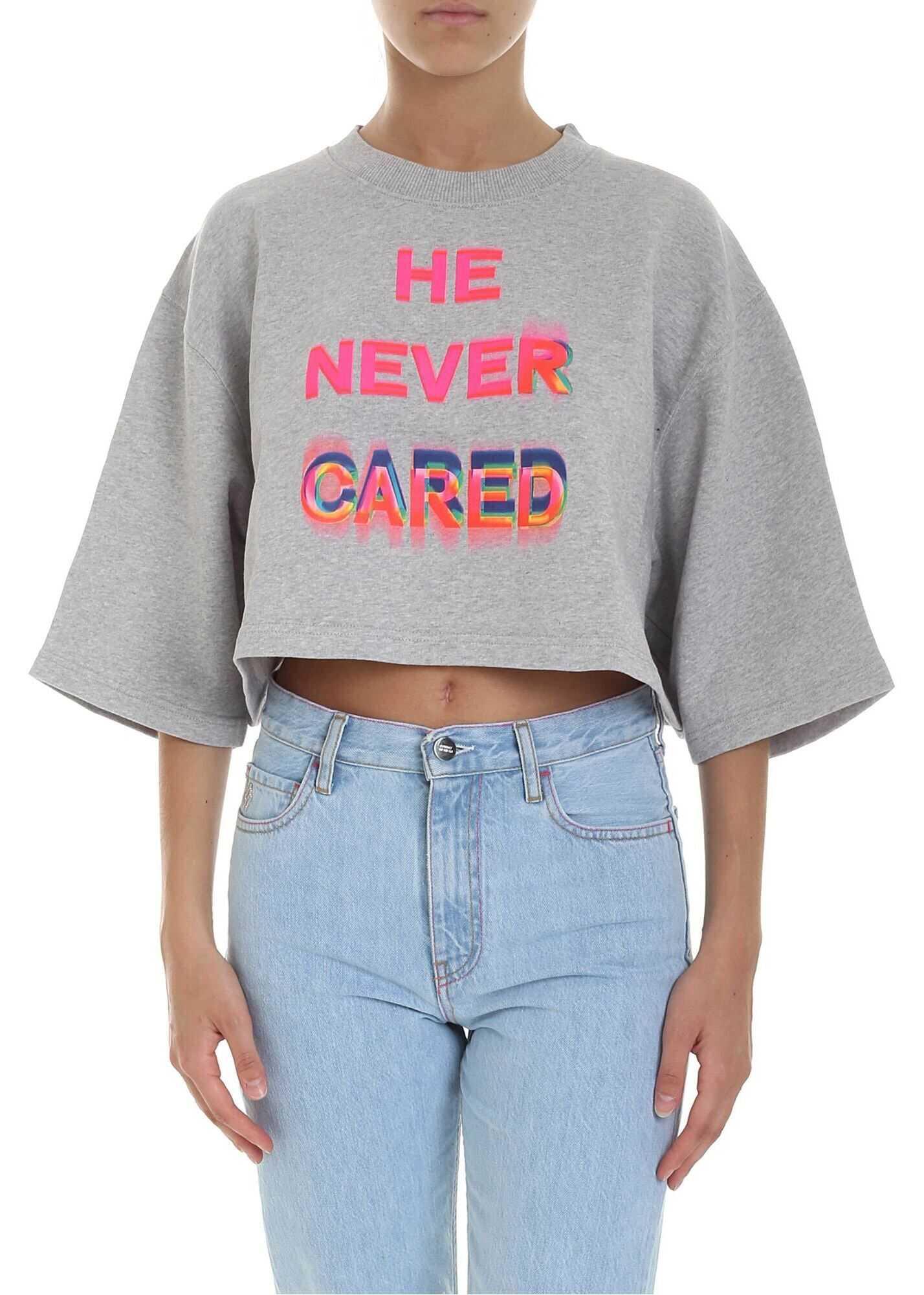 Marcelo Burlon He Never Cared Cropped Sweatshirt In Grey Grey
