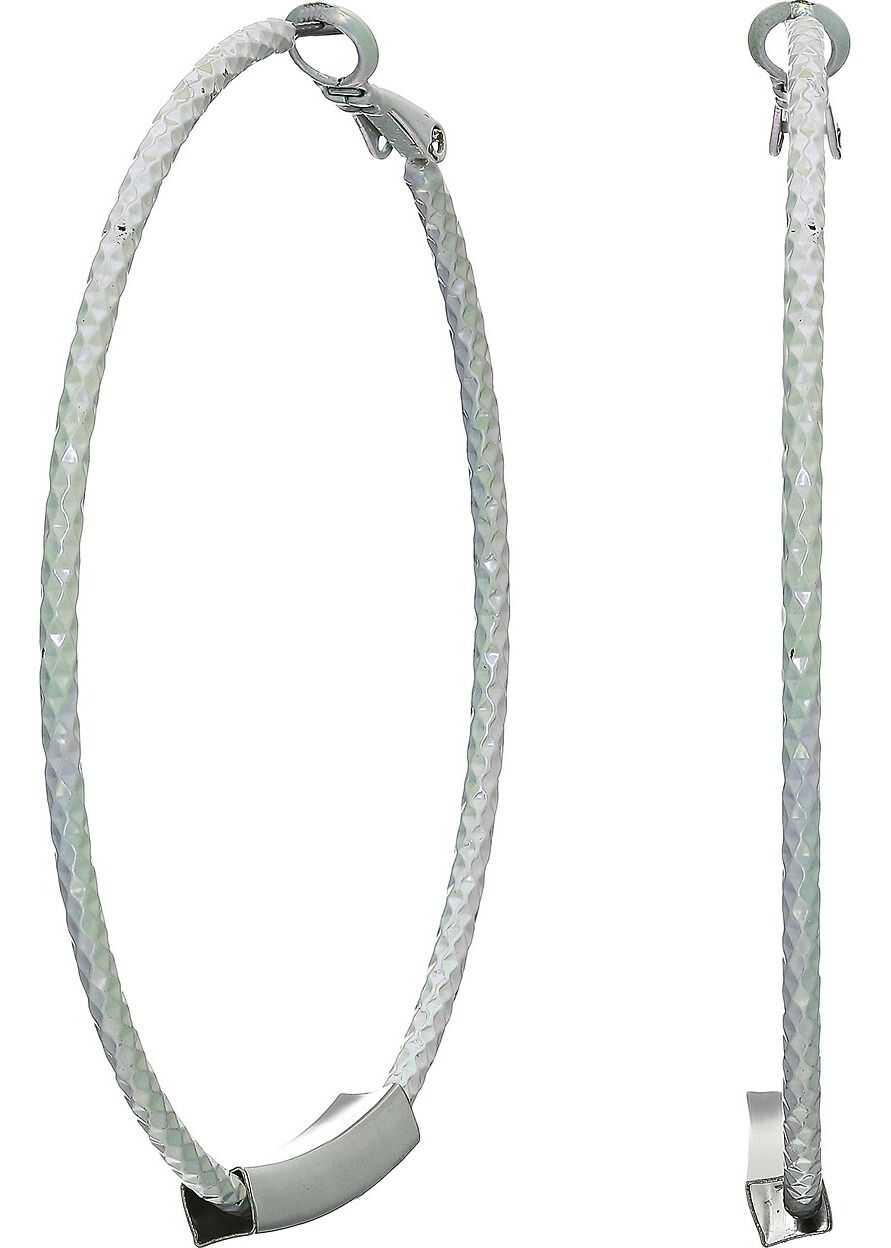 GUESS Textured Hoop with Tube on Bottom Earrings Silver/White