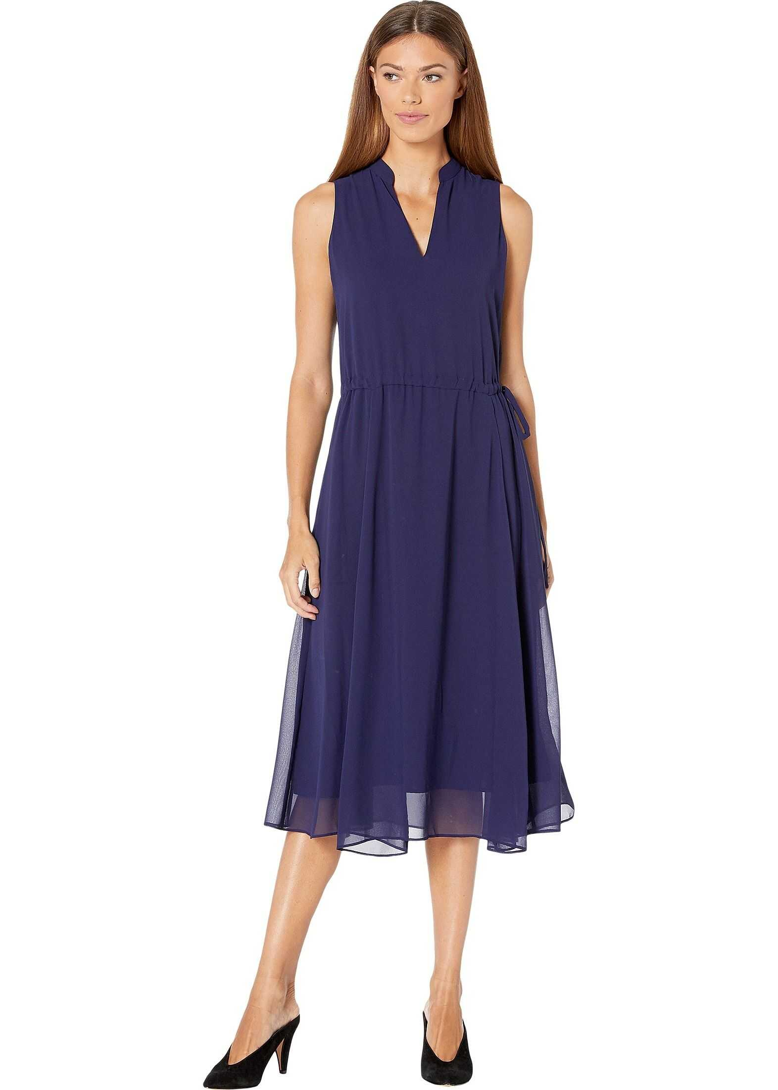 Anne Klein Solid Chiffon Drawstring Midi Dress w/ Lining Navy