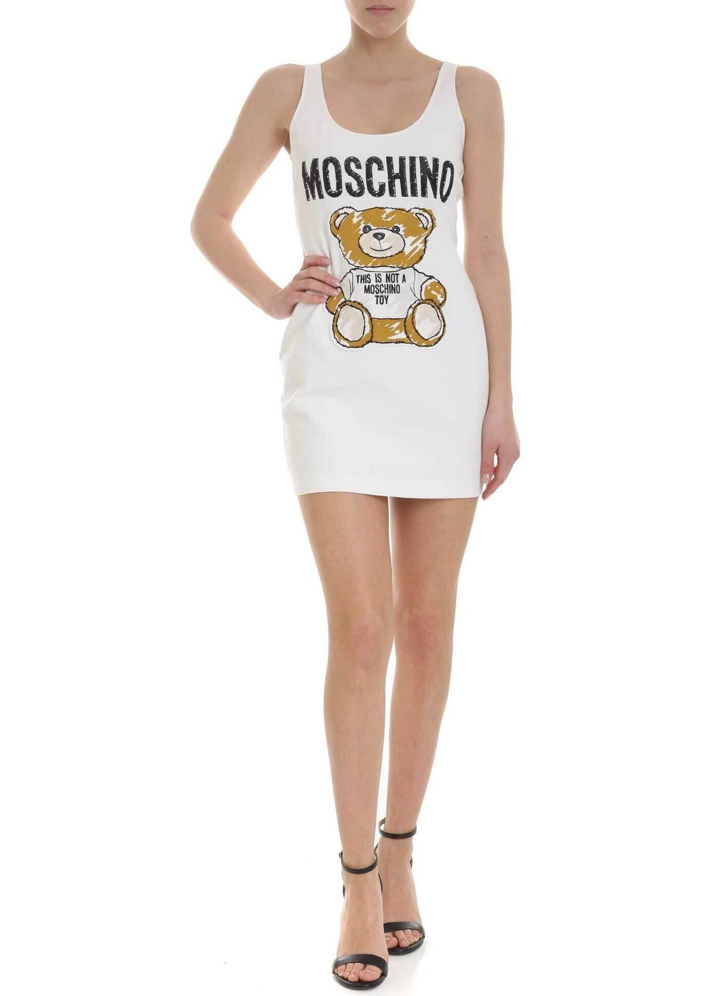 Moschino Teddy Bear Sleeveless Dress In White White