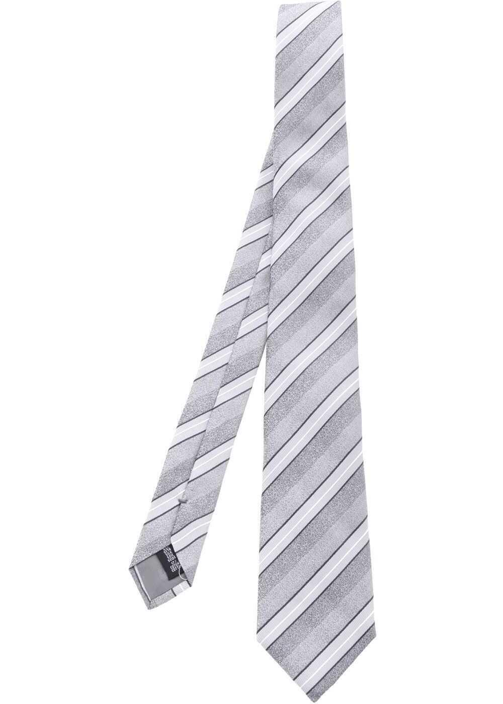 Emporio Armani Grey Striped Tie Grey