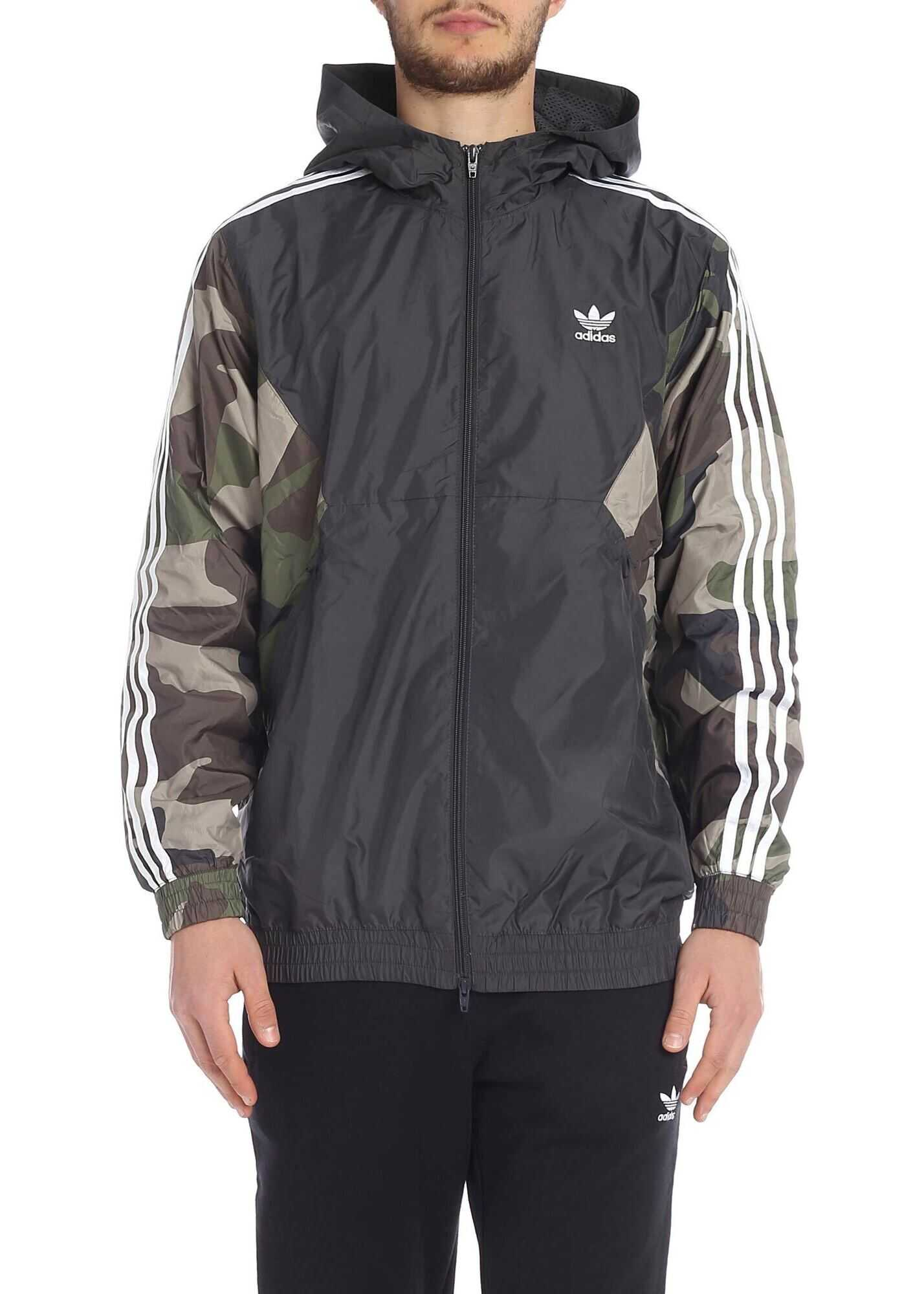 Adidas Originals Hooded Jacket In Gray And Camo