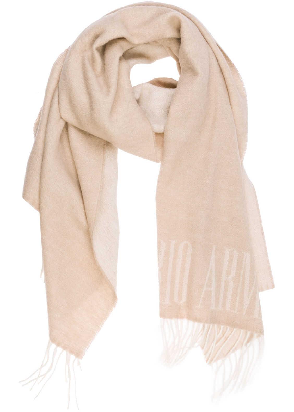Emporio Armani Wool Scarf Beige