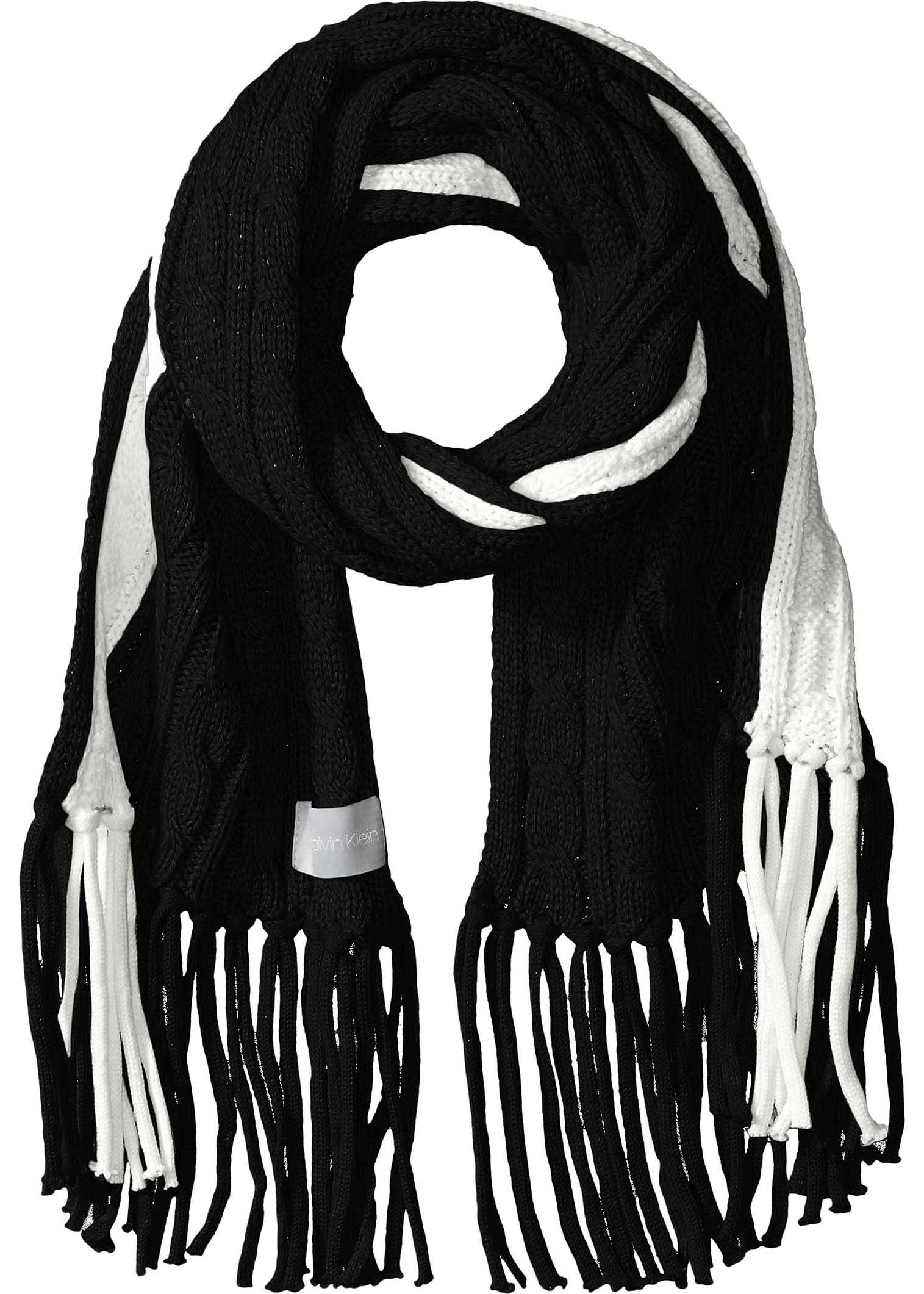 Calvin Klein Color Block Cable Scarf Black