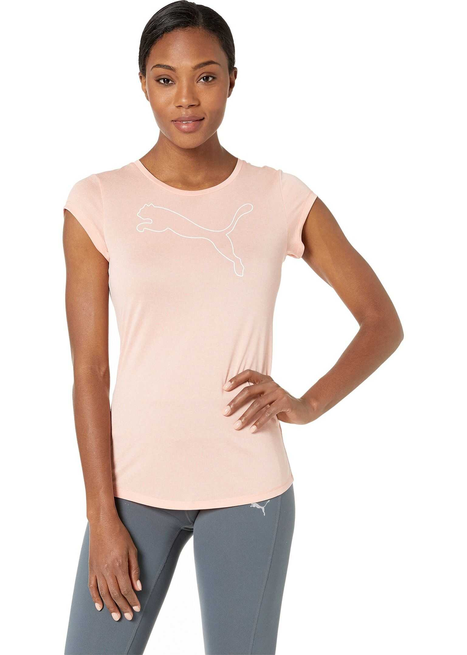 PUMA Active Logo Heather Tee Peach Bud Heather