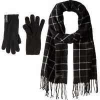 Manusi Plaid Woven Scarf and Gloves Two-Piece Set Femei