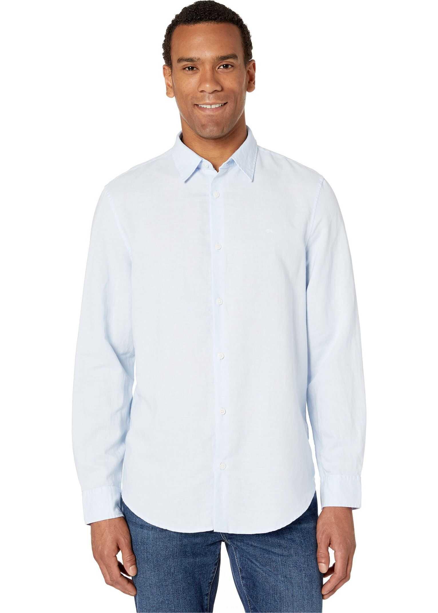 Calvin Klein Long Sleeve Cotton Linen Button Down Shirt Cold Lake