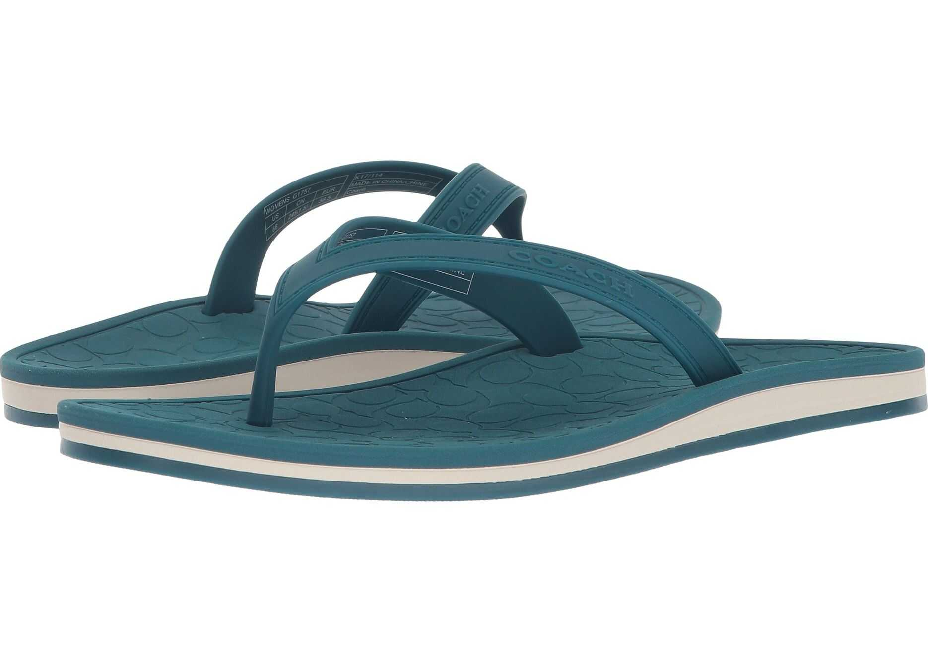 COACH Flip-Flop Dark Teal Rubber