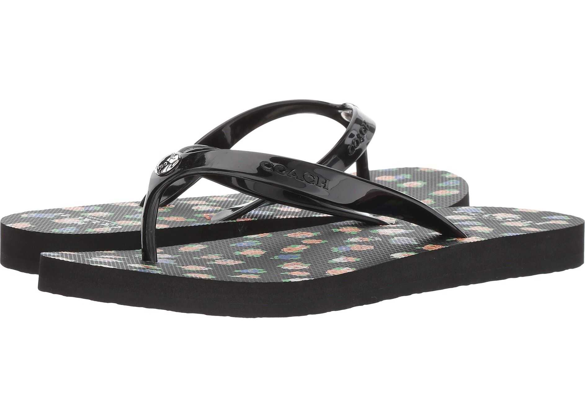 COACH Flip-Flop Black Multi Floral Rubber