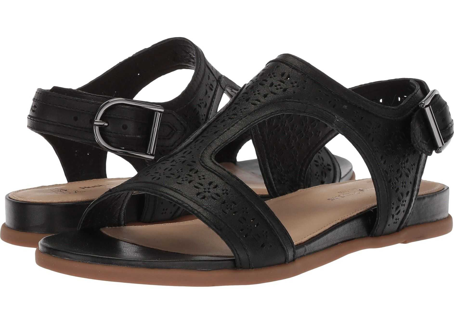 Hush Puppies Dalmatian T-Strap Black Perf Leather