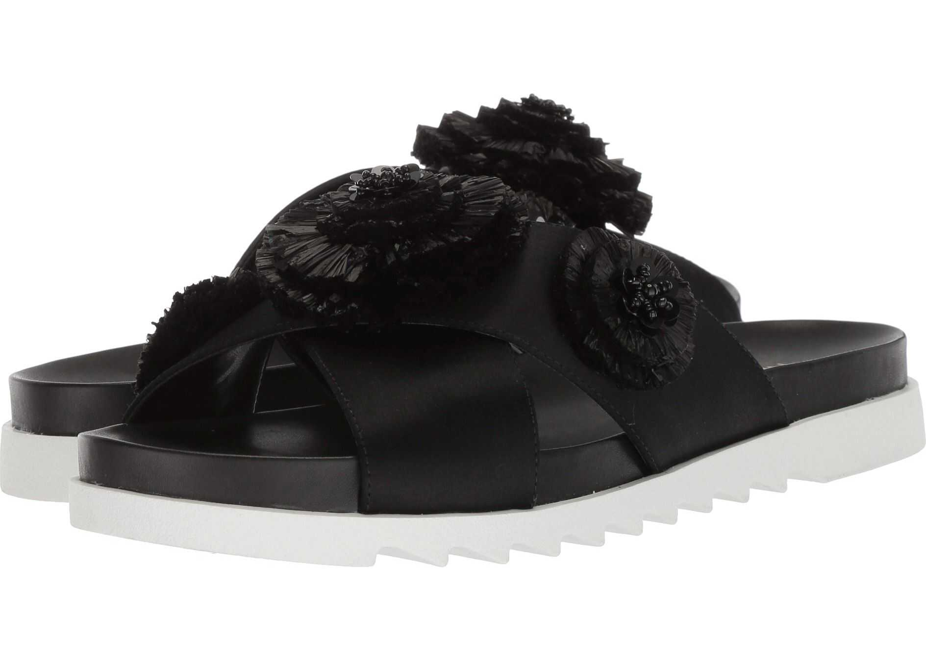 Nine West Feeltheluv Slide Sandal Black Satin