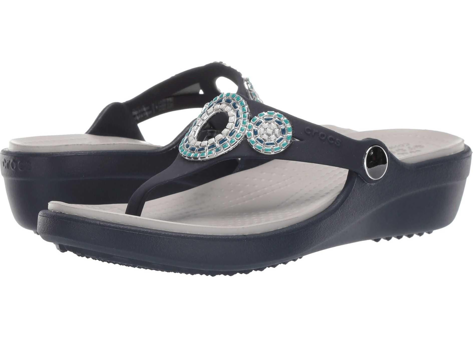 Crocs Sanrah Diamante Wedge Flip Navy/Turquoise