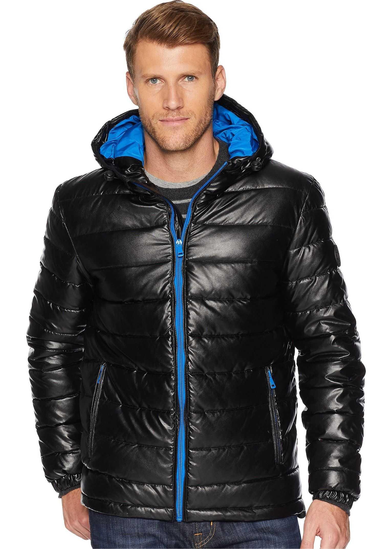 Cole Haan Faux Leather Faux Down Jacket Black/Blue