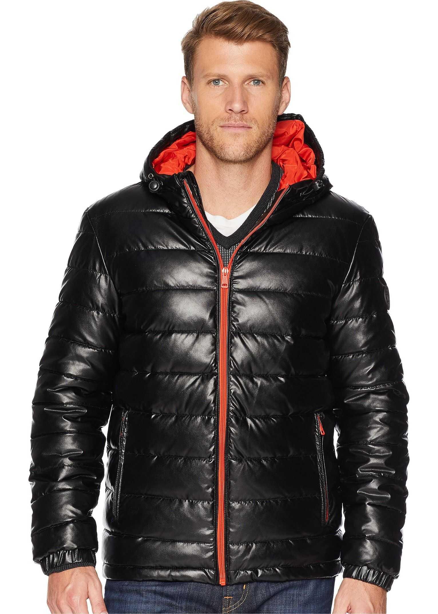 Cole Haan Faux Leather Faux Down Jacket Black/Orange