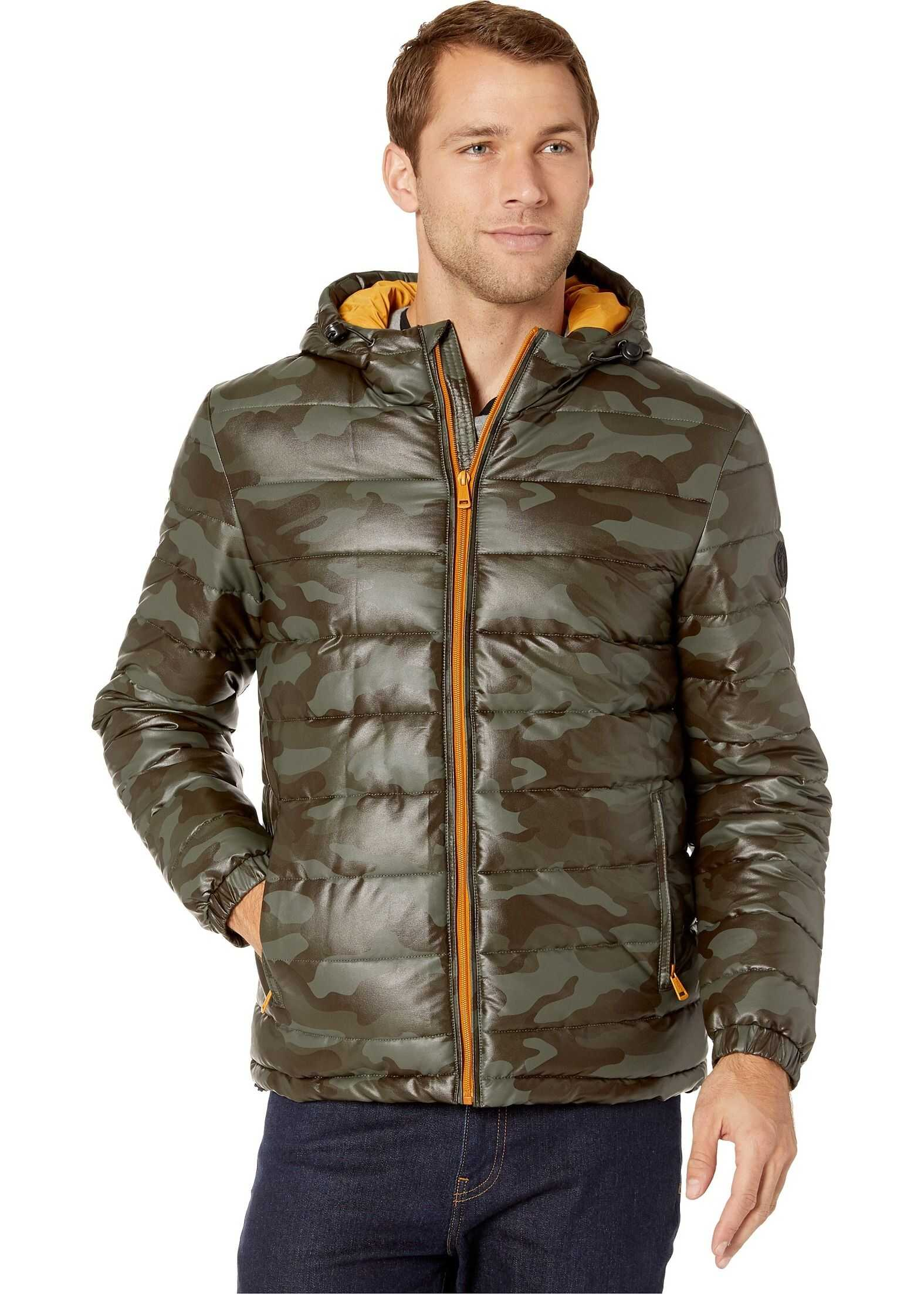 Cole Haan Faux Leather Faux Down Jacket Olive Camo/Sun