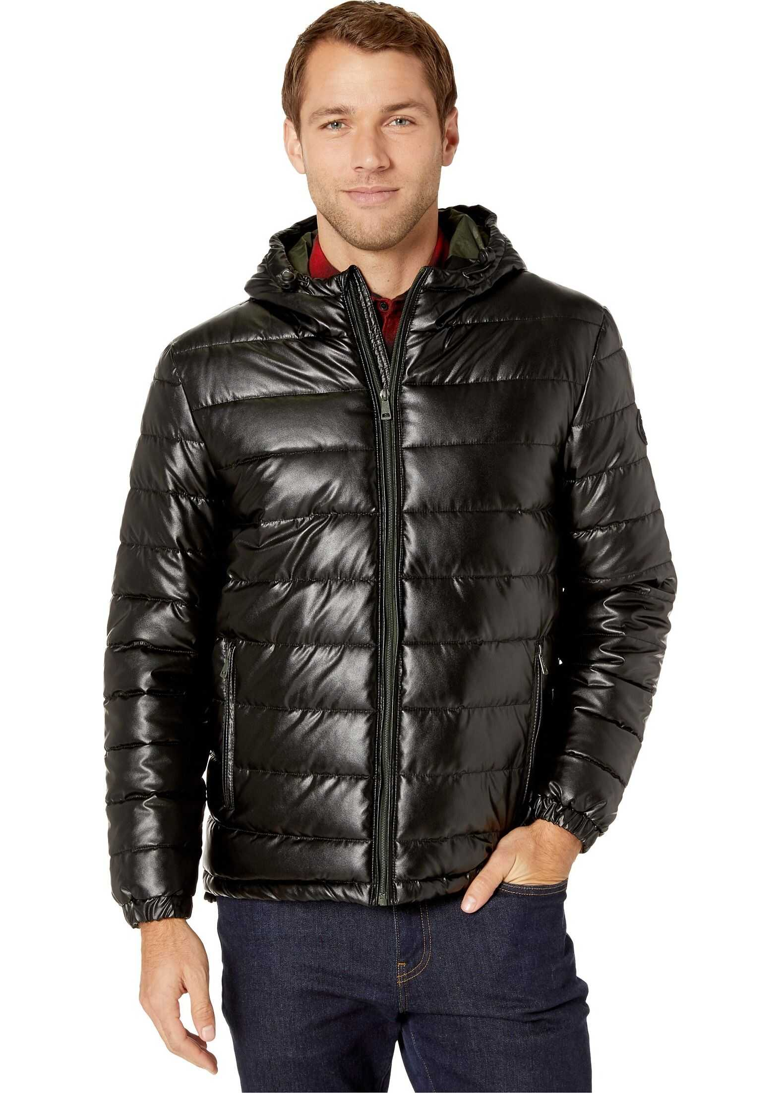 Cole Haan Faux Leather Faux Down Jacket Black/Olive Camo