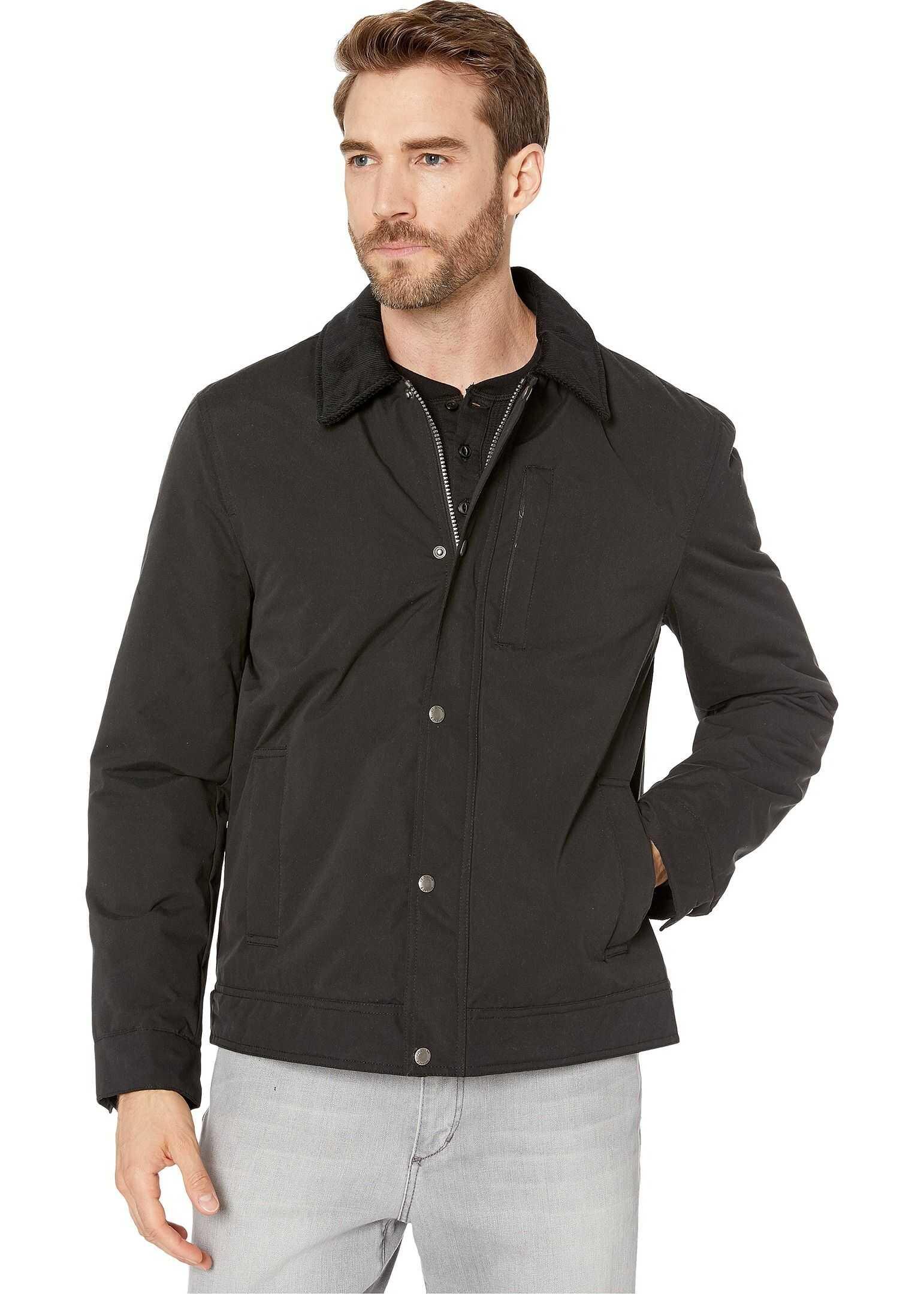 Cole Haan City Rain Padded Barn Jacket with Corduroy Collar Black