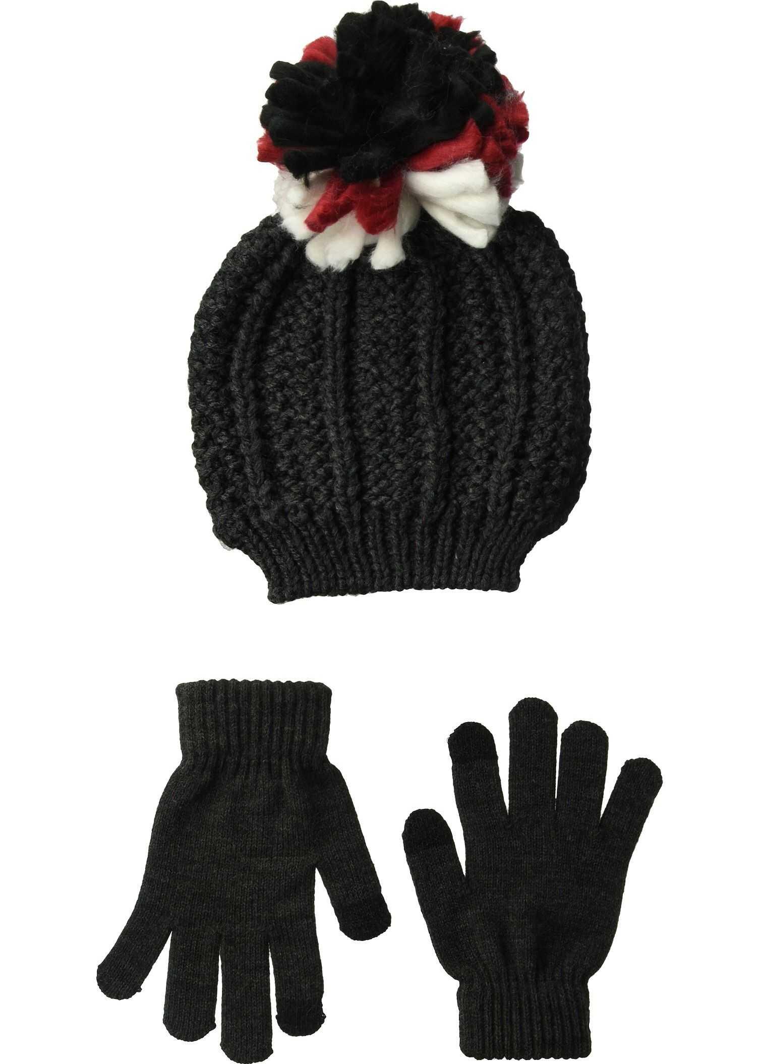 Steve Madden Chunky Pom Pom Hat with Etouch Glove Set Grey